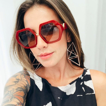 Senta damskie okulary przeciwsłoneczne Trendy nieregularne wielokąta gradientowe szkła okulary przeciwsłoneczne okulary zewnętrzne dla dziewczynek okulary ochronne UV400 tanie i dobre opinie CN (pochodzenie) WOMEN SQUARE Dla dorosłych Żywica Spolaryzowane 64mm Z poliwęglanu 593608952572 55mm