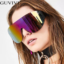 Oversized One-piece Mask Sunglasses Women Goggle Vintage Eyeglasses Luxury Brand Men Mirror Gradient Shades Sunscreen Eyewear