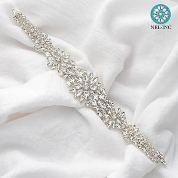 (1PC) Silver rhinestone bridal belt wedding applique with crystals dress accessories sash for WDD0756 - discount item  9% OFF Wedding Accessories