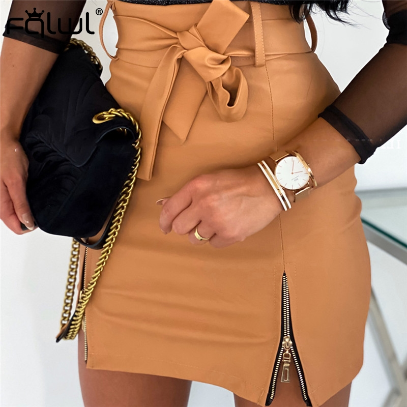 FQLWL Sashes Faux Pu Leather Mini Skirts Womens Short A Line Wrap High Waist Skirt Summer Sexy Bodycon White Black Skirt Female