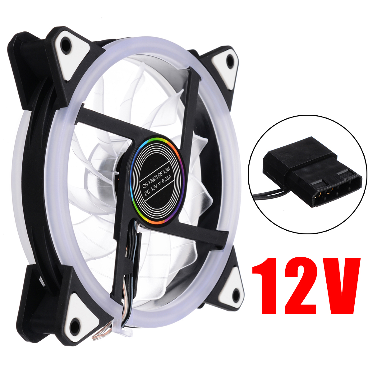 120mm 12V Quiet LED Cooling Fan RGB Adjust 4Pin to 3Pin PC Desktop Computer Case Cooling Cooler Fan for Computer CPU Cooler image