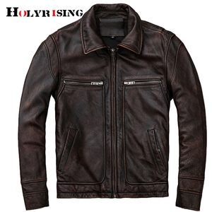 Image 2 - mens Genuine leather distressed motorcycle men real leather jacket 100% Cowhide retro red brown mens Leather Coat 19078 5