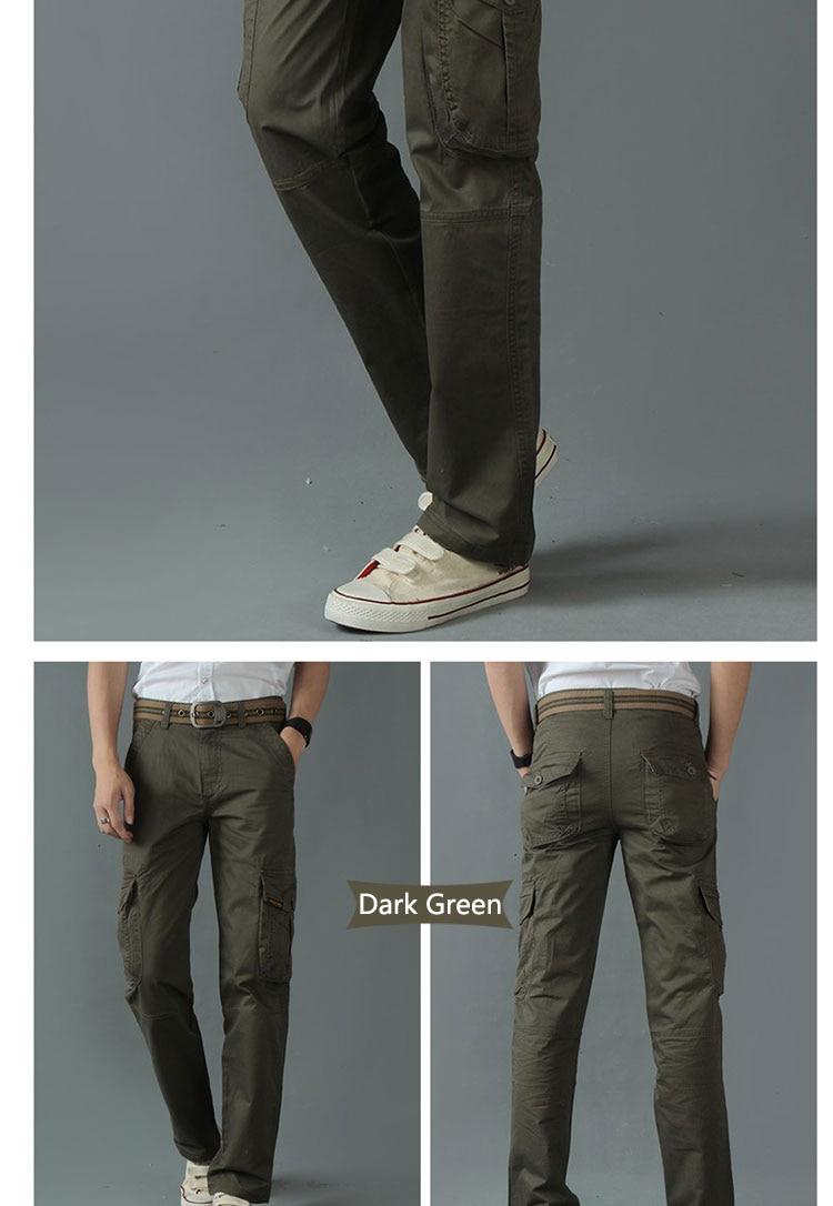 KSTUN New Men's Cargo Pants Casual Overalls 100% Cotton Straight Cut Male City Military Tactical Pants Men Loose Fit Trousers No Belt 17