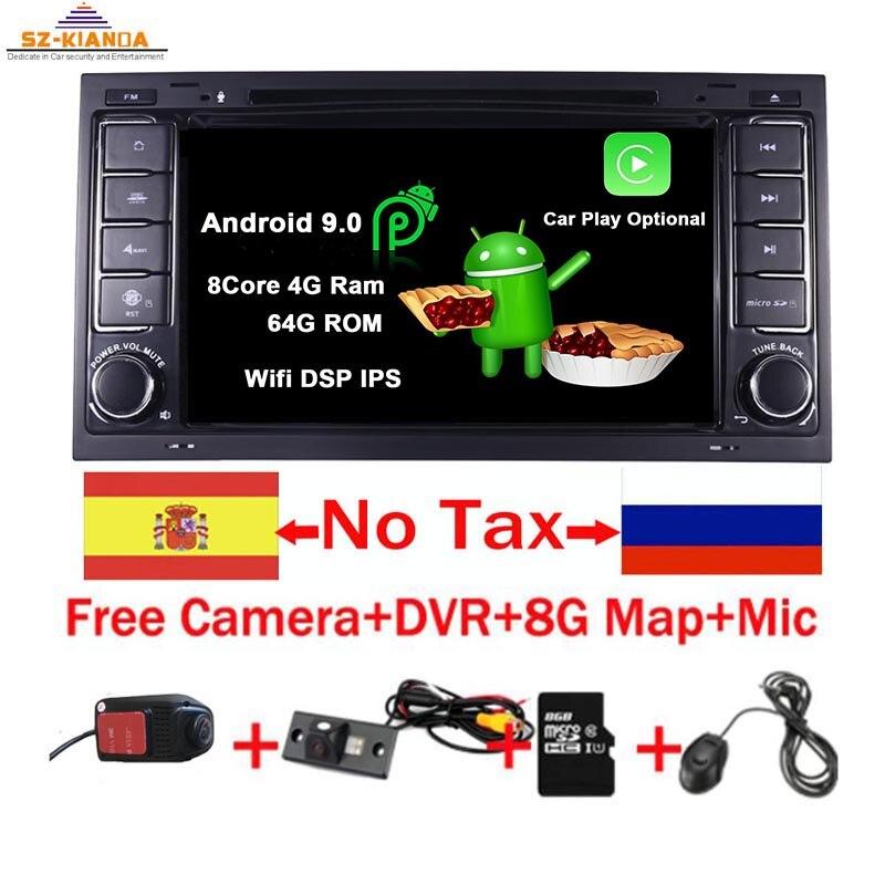 "7 ""HD ips сенсорный экран Android 9,0 автомобильный dvd плеер для Volkswagen Touareg T5 транспортер мультивен 2004 2011 радио аудио стерео-in Мультимедиаплеер для авто from Автомобили и мотоциклы"