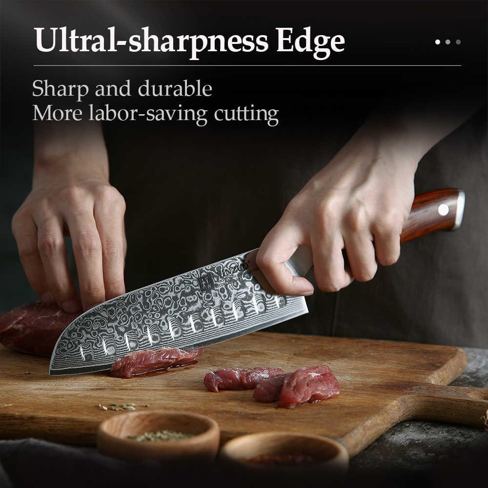XINZUO 7'' zoll Santoku Küchenmesser 67 Schichten Damaskus Stahl Kochmesser Palisander Griff Umgang mit Fleisch Obst Gemüse