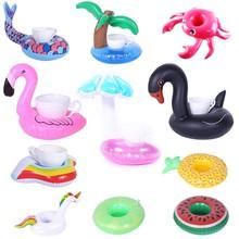 Nadmuchiwany uchwyt na kubek jednorożec Flamingo uchwyt na napoje pływanie pływający w basenie kąpiel zabawka basenowa Party pasek dekoracyjny podstawki