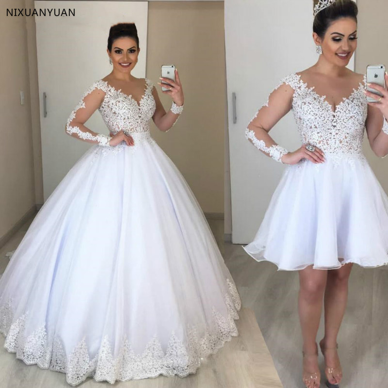 Vestido De Novia 2 In 1 Wedding Dress Long Sleeves Bridal Gowns Appliques Lace Wedding Dresses Puffy Tulle Detachable Train