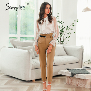 Image 3 - Simplee Women fashion high waist pencil pants Spring female casual belt patchwork long pants Office lady work wear trousers