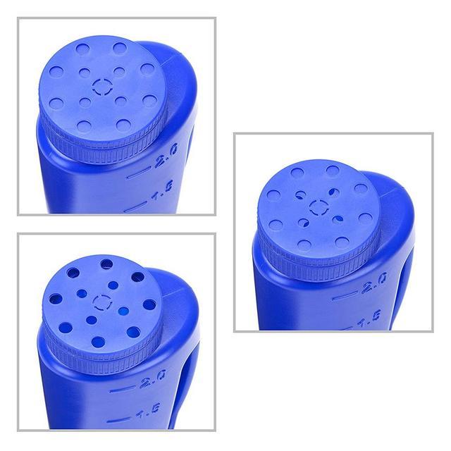 Epandeur à main 2L en bleu. Taille de trou réglable pour la graine, lengrais, le sel au déglaçage ou toute taille Granule complet avec Scoop