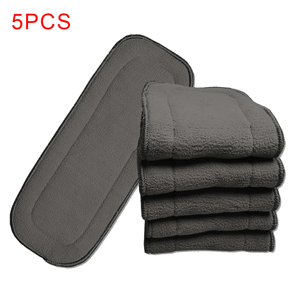 5Pcs Insert 5 Layers Reusable Cloth Urine Mat Eco-friendly Safe Super-absorbent Liners Baby Nappies Bamboo Charcoal Cover