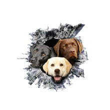 Lifelike car sticker 3d labrador dog pet animal accessories