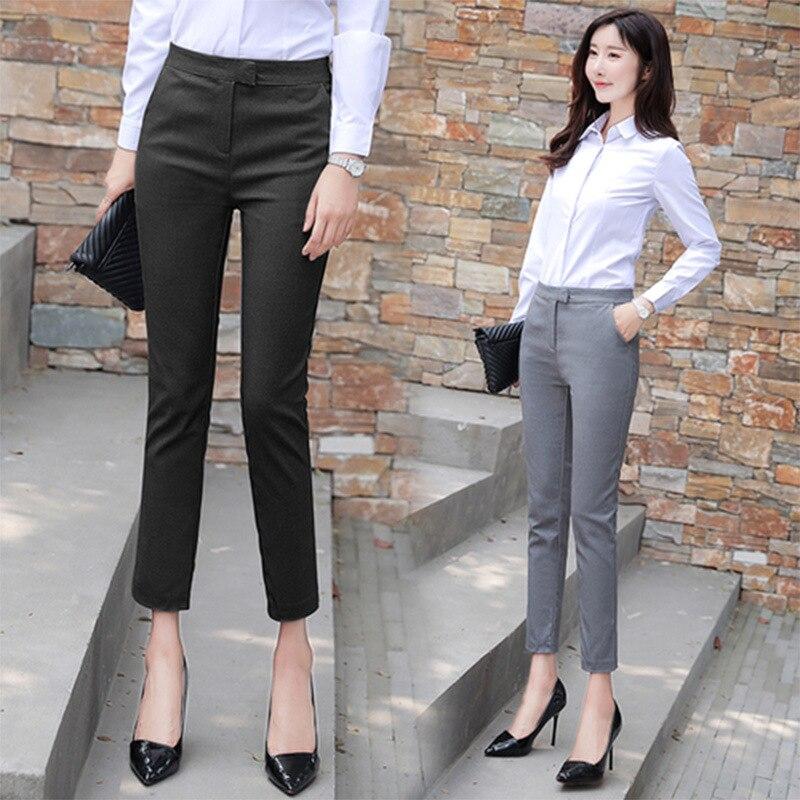2019 New Style Suit Pants Women's Autumn Thin Capri Straight-leg Pants Drainpipe Jeans Hidden Button High-waisted Slimming Wear