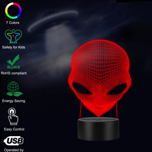 Halloween Alien Head 3D Lamp lighting LED USB Mood Night Light Multicolor Touch or Remote Luminaria Change Table Desk Home Decor