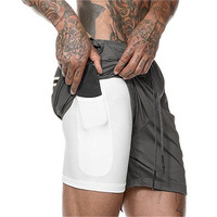 Dark gray-Summer Running Shorts Men 2 in 1 Sports Jogging Fitness Quick Dry