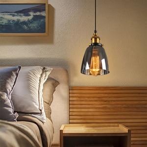 Image 4 - בציר תליון אורות זכוכית תליון מנורת לופט נורדי לתלות מנורת 28cm מעושן אפור תעשייתי מנורת אוכל חדר שינה מטבח e27