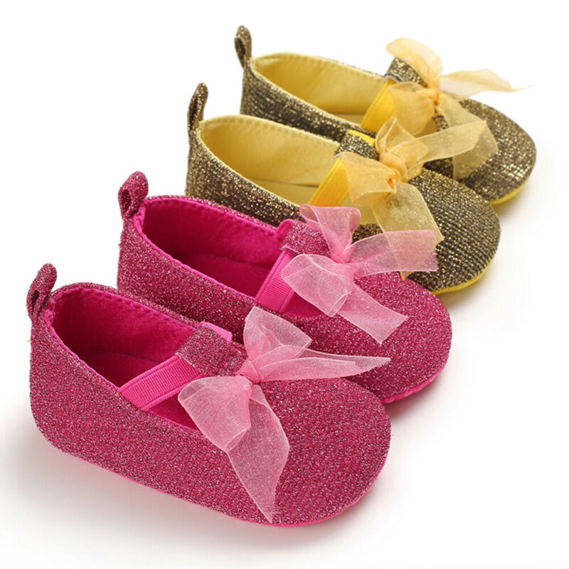 Baby Boy Girl Shoes Soft Sole PU Leather Crib Shoes Newborn Toddler Prewalker Bowknot Buckle Strap Pink Gold Glitter 2 Styles
