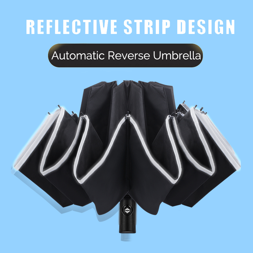 Homem dobrável guarda-chuva reverso guarda-sol feminino viagem sol guarda-chuvas preto à prova de vento automático de negócios 10 k parapluie