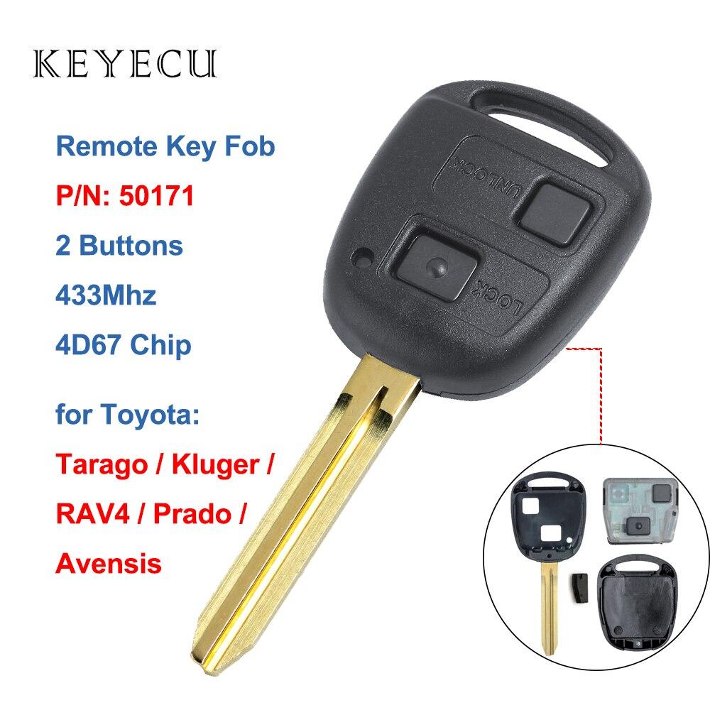 Дистанционный ключ Keyecu с 2 кнопками, чип 433 МГц 4D67 для Toyota Prado Avensis Tarago 120 RAV4 Kluger 2003-2009, необработанное лезвие TOY43