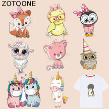 ZOTOONE Cartoon Animal Patches Owl Fox Cat Stickers Iron on Transfers for Clothes T-shirt Heat Transfer Accessory Appliques G