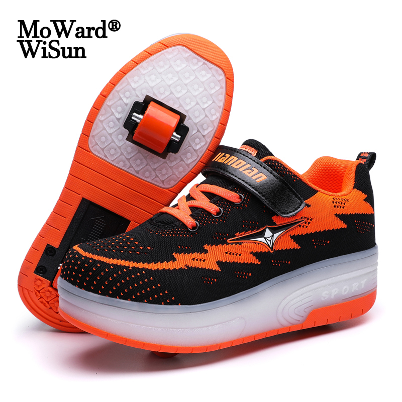 Size 28-40 USB Charging Glowing Roller Skate Shoes For Kids Boy Girls Double Wheels Sneakers With Lights LED Shoes With Roller