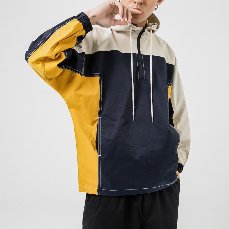 Jacket Male Japan-Style Coat Windbreaker Streetwear Autumn Color Cotton New Loose Hat