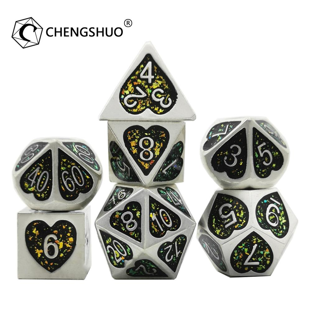 Chengshuo starlight <font><b>metal</b></font> dice Heart enamel dice dnd dice set for Role-playing board games.Used for DND,COC.7pcs.<font><b>D20</b></font> 12 10 8 6 4 image