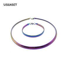 Ожерелье женское из нержавеющей стали колье 6 мм разноцветное