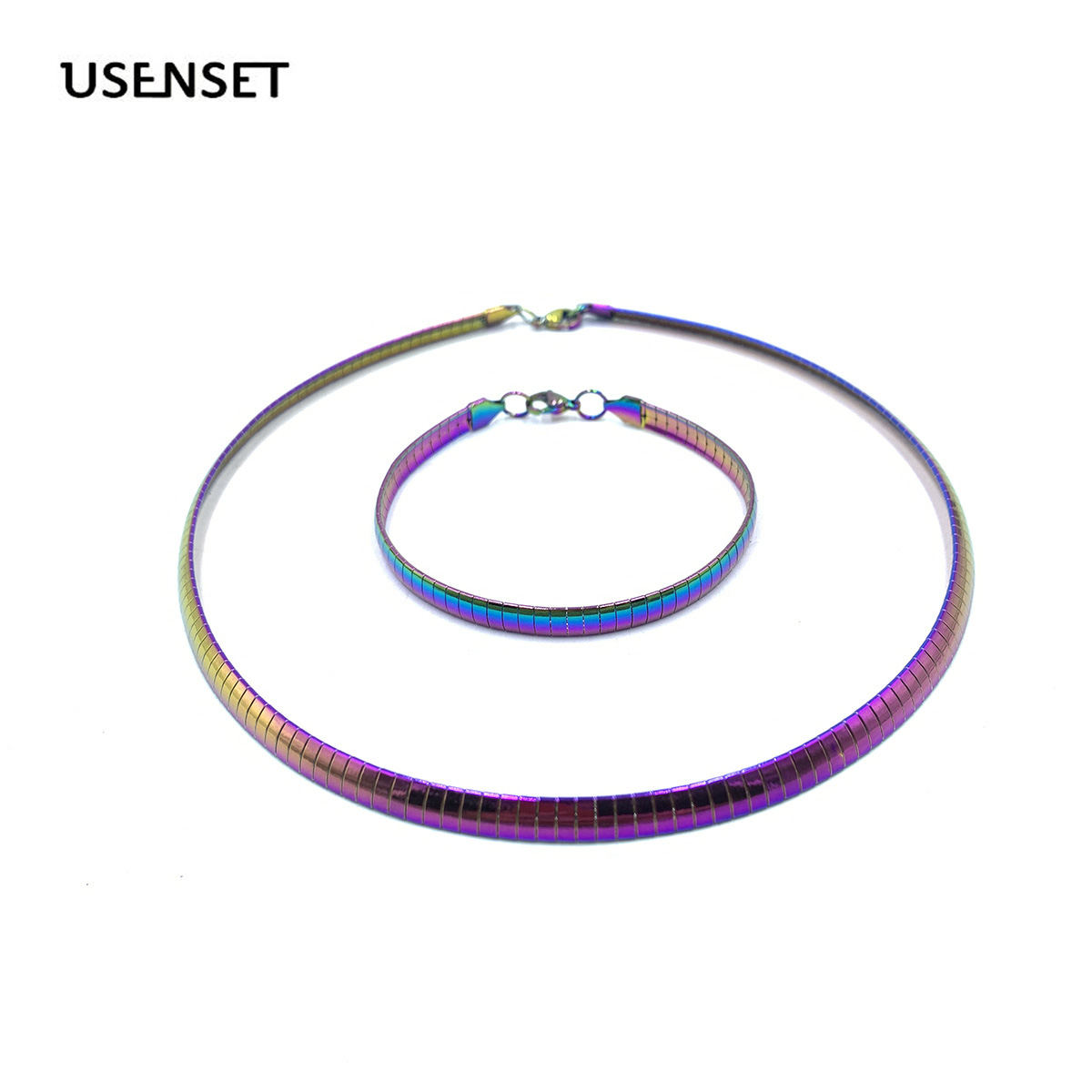 Colorful Collar Stainless Steel Necklace Women Choker Torques Jewelry 4MM 6MM 8MM  Snake Chain Bracelet Set Gifts For Girls
