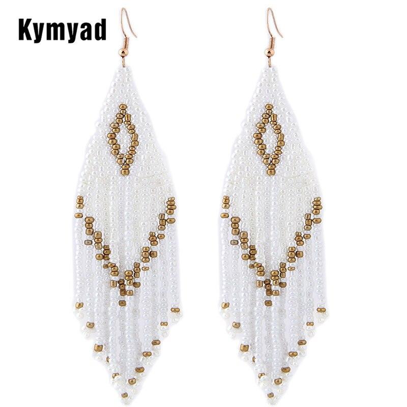 Женские серьги Kymyad, длинные серьги с бусинами в этническом стиле, модное украшение, Заявление, 2019 Серьги-подвески      АлиЭкспресс
