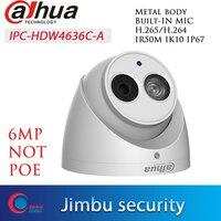 Dahua IPC HDW4636C A 6MP 6Mega Pixel Not POE H.265 Metal casing Built in MIC IR50m IP67 IK10 Dome CCTV camera IP Camera