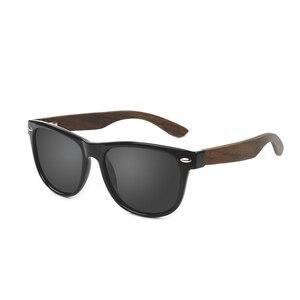 Image 5 - Toketorism 2019 zebra Wood sunglasses Polarized ebony wooden sun glasses Transparent Gray Frame for men women 1051