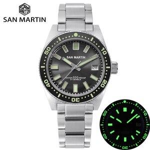 Image 1 - San Martin 62MAS Diver Horloge Rvs Automatische Mannen Mechanische Horloges 200M Waterdicht Lichtgevende 2019 Sport Relojes