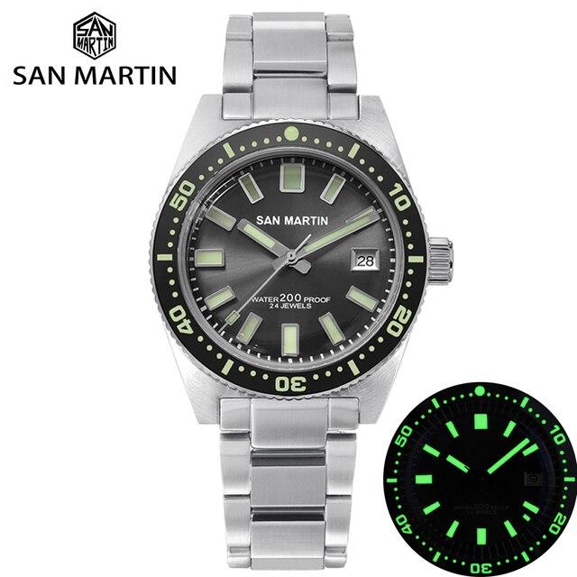 San Martin 62MAS Diver Horloge Rvs Automatische Mannen Mechanische Horloges 200M Waterdicht Lichtgevende 2019 Sport Relojes