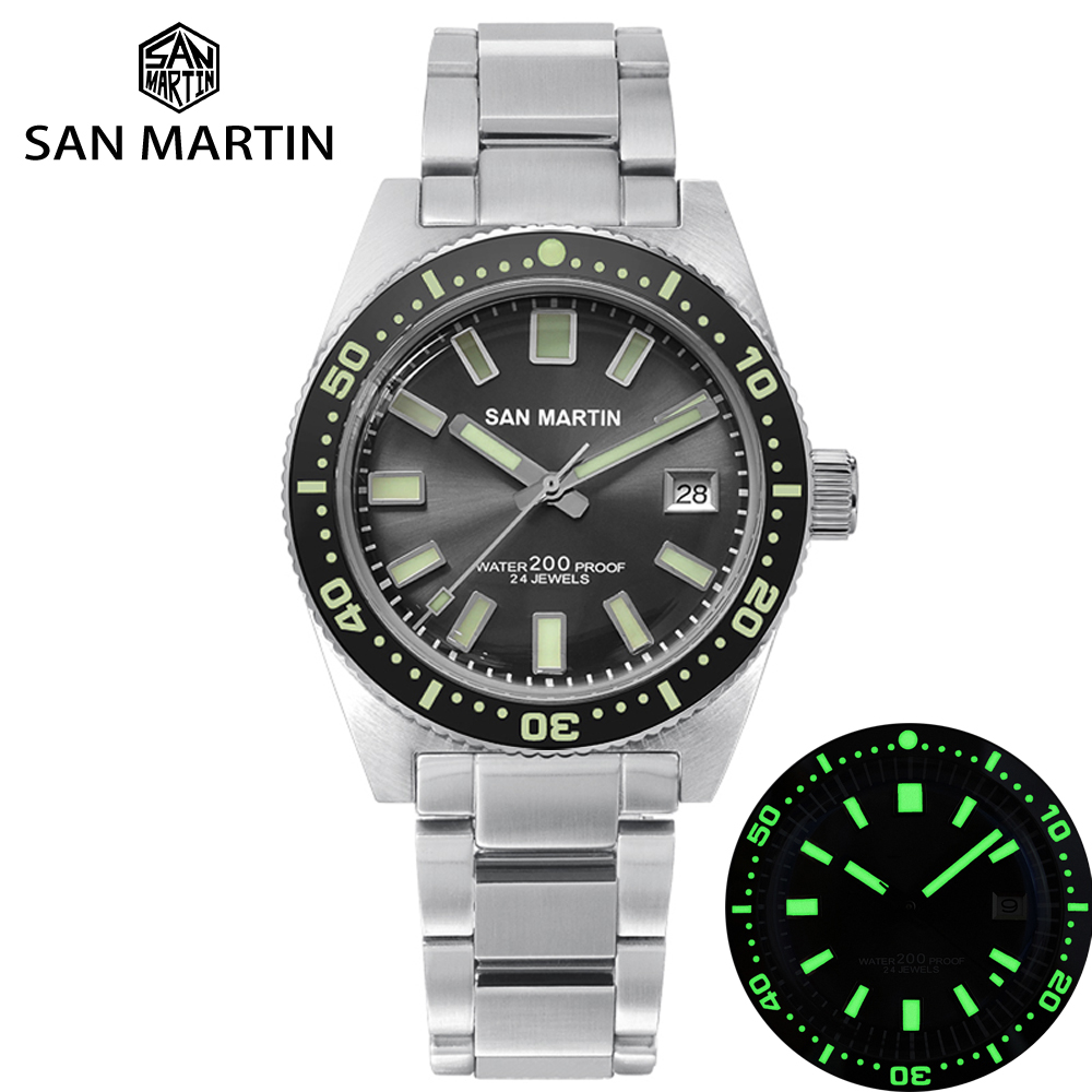 Diver-Watch Mechanical-Watches San Martin Stainless-Steel 62MAS Waterproof Sport-Relojes title=