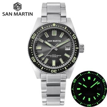 San Martin 62MAS Diver Watch Stainless Steel Automatic Men Mechanical Watches 200M Waterproof Luminous 2019 Sport Relojes