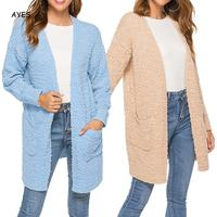 Sweater Women Cardigan Knitted Coat Casual Long Sleeve Sky Blue Cardigan Tops Sweater Knitted Ladies Office Long Sweater Coat