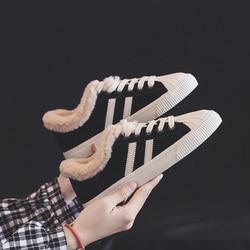Зимние сапоги; женская модная обувь в полоску с мехом; Зимние Теплые ботильоны на плоской подошве; нескользящие женские кроссовки; zapatos mujer