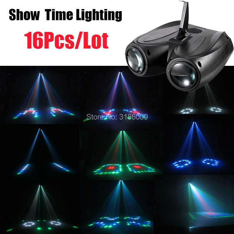 16Pcs/Lot Dj LED double head airship Moon flower light Home entertainment DJ party Disco light Sound work Carton Building block