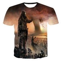 Новинка 2021! 3D футболка, модный тренд, креативные Короткие футболка с длинным рукавом для детей, повседневный топ с короткими рукавами, летня...