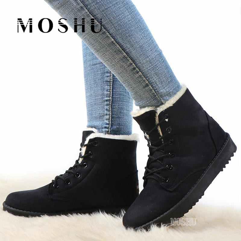 Kadın yarım çizmeler Kış Ayakkabı dantel-up Kar Botları Sıcak Kürk Astarı platform ayakkabılar Flock Süet Botines Siyah Bota Feminina