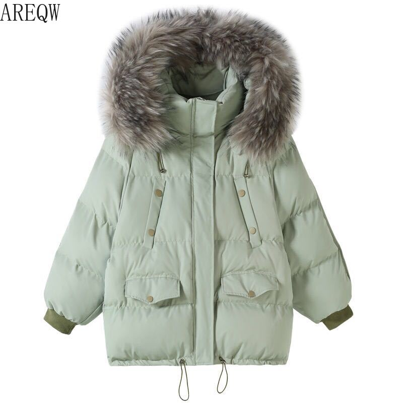 2019 Winter Women Overcoat Faux Fur Collar Coat Padded Hooded   Parkas   Outerwear Casual Loose Thick Warm Female Wadded