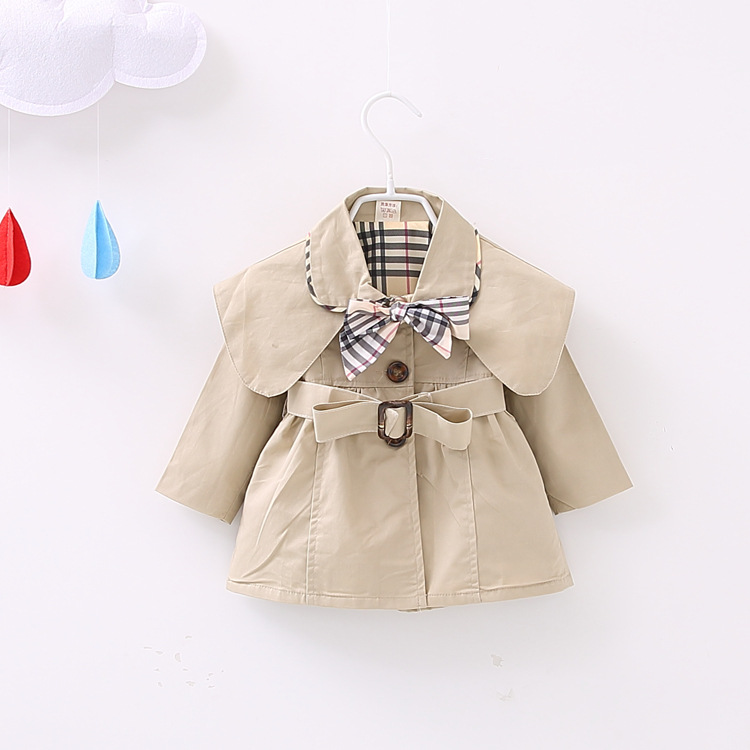 Toddler Baby Girls Coat Brand Spring Girl Jacket With Belt Children Clothes Girl Trench Kids Cotton Windbreaker