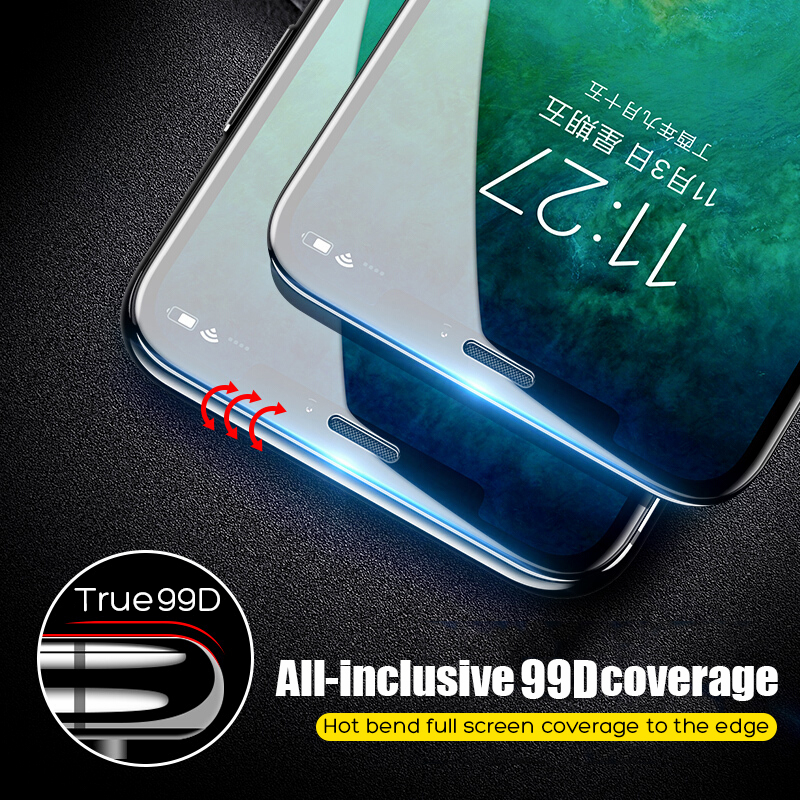 Image 3 - 99D Protective Tempered Glass On The For iPhone 6 6s 7 8 Plus X Glass Screen Protector Soft Edge Curved For iPhone X XS MAX XR-in Phone Screen Protectors from Cellphones & Telecommunications