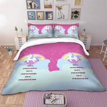 Pink unicorn Bedding set kids Duvet Cover Pillowcases Twin Full Queen King Size bed linen 3pcs new(China)