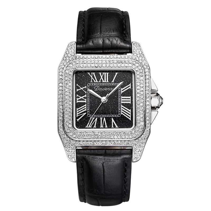 2020 새로운 Davena 로즈 골드 쿼츠 시계 여성 시계 전체 다이아몬드 럭셔리 여성 시계 숙녀 시계 방수 가죽 스트랩