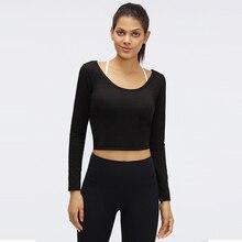 1 pc darmowa wysyłka NWT Sexy projekt treningu Fitness koszulka do jogi topy kobiety długa koszula Slim Fit gym Sport koszule z długim rękawem