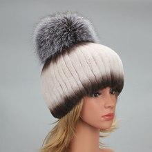 Hats Fur-Hat Fluffy Rex-Rabbit-Fur Winter Natural Women's Real Warm Pompom Knitted Elastic
