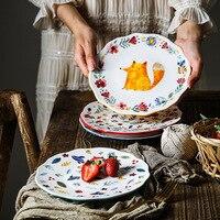 8 zoll Tier Abendessen Platte Unter glasierte Keramik Abendessen Gerichte Pasta Steak Gerichte Fuchs Katze Blume Geschirr Mikrowelle Geschirr-in Geschirr & Platten aus Heim und Garten bei