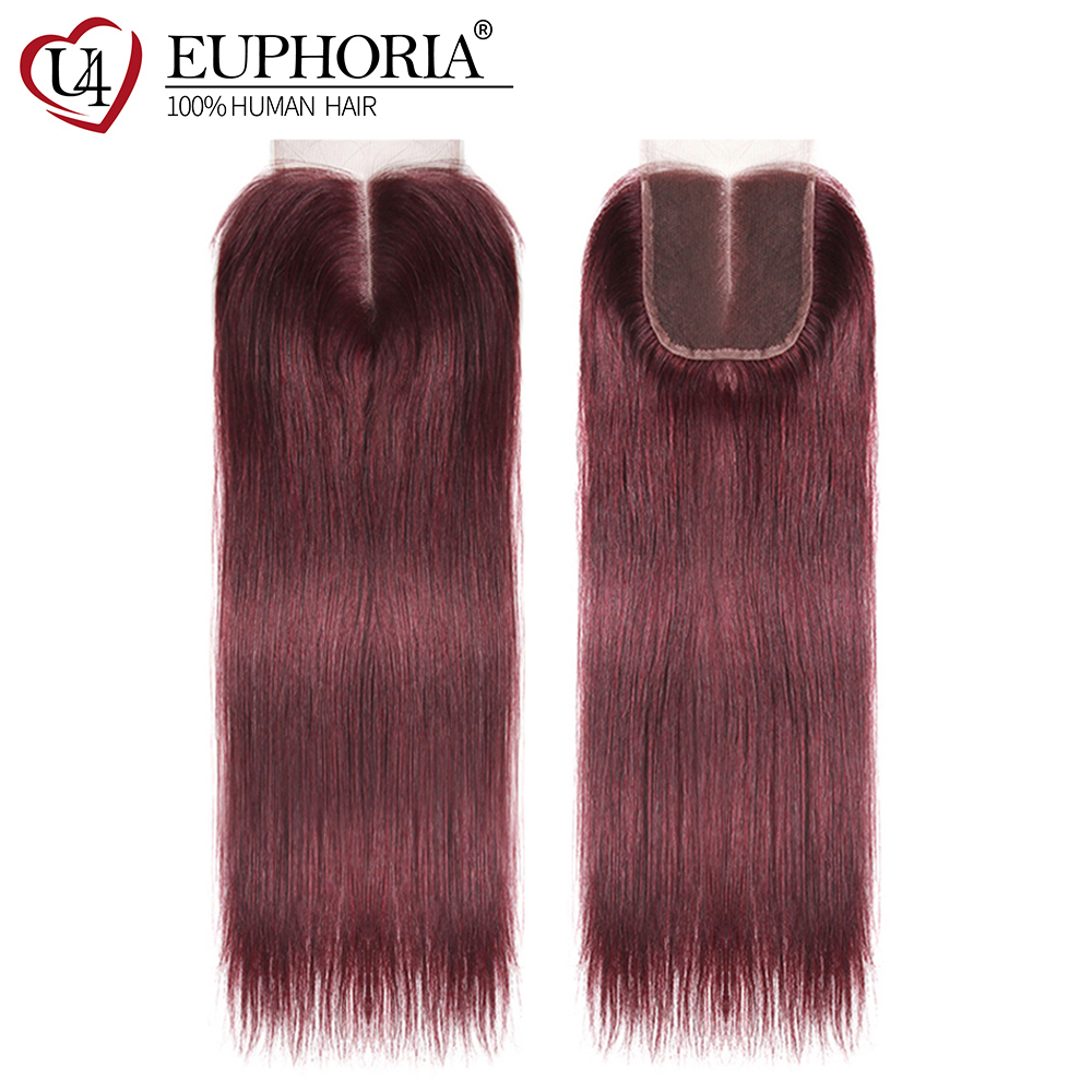 Brazilian Straight Human Hair Swiss Lace Closure 4x4inch EUPHORIA Blonde Brown Color 100% Remy Human Hair Pre-Colored Closures