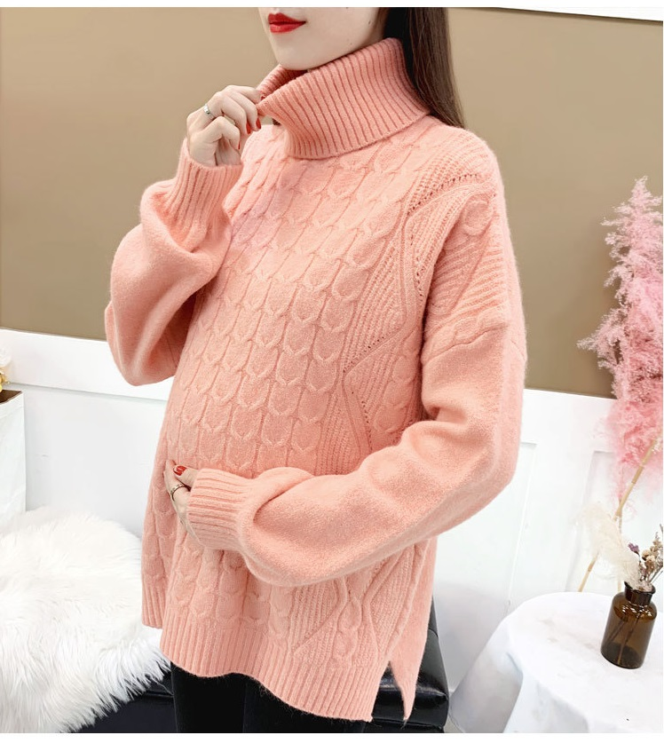Maternity Wear Autumn And Winter Fashion Pregnant Sweater Solid Color High Collar Comfortable Sweater Base Pregnant Shirt Sweate
